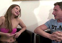 Fake Casting for Skinny German Asian Teen for Money