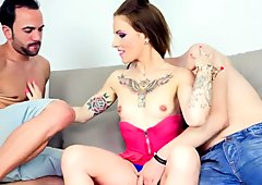 Jordanne Kali in a hot threesome with double blowjob and deepthroat