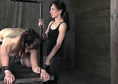 Full natural busty slut gets her tits and pussy punished by cruel chick