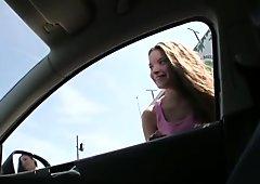 Hitchhiker teen Anita B banged in public