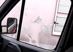 Tina Hot sucks a strangers cock in his car