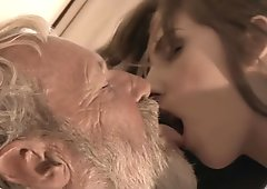Bearded grandpa cum in Tina   s young mouth