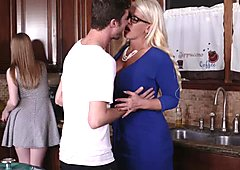 Alura and Dolly threesome fuck in the kitchen