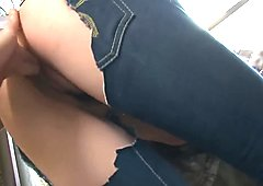 Cute Japanese girl in crotchless pants squirts