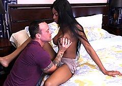 Nadia Jay riding a white cock