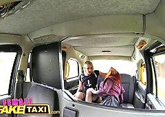 Female Fake Taxi Lesbian dominates tattooed redhead