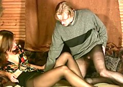 Lyalya in dark pantyhose and black shoes flirting with her boyfriend