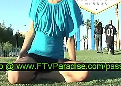 Adorable Independent Cute Teen Babe Posing Outdoor