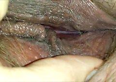 Horny hairy pussy closeup