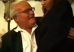 Naughty schoolgirl gets fucked by grandad and dad