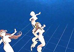 3D MMD Koshitantan with Yamato, Kongo and Unryu