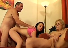 Charming whore Lucie Q has threesome to be fucked doggy tough at once