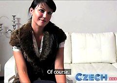 Czech Fashion model milks cock dry in Office