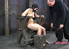 Gagged and tied up angel gets her clits pleasured