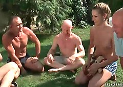 Hot group blowjob and pissing