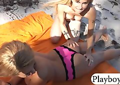 Two hot babes enjoyed amazing outdoor sex on springbreak