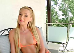 Ass Traffic skinny funny blonde interviewed before anal