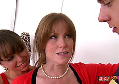 Huge tits stepmom threesome on the bed