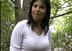 Czech milf follows the guys to the park and pleases them there