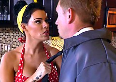 Jizzed up housewife Peta Jensen cleans the floor while pussy thrashed in the kitchen