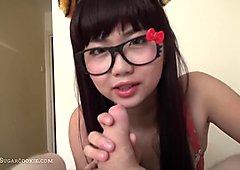 cute busty teen blowjob in specs