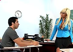 Awesome curvy blond teacher Puma Swede seduces naughty guy and sucks his dick