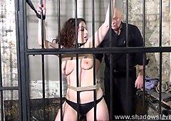 Female prisoner whipping and harsh bondage punishments of am