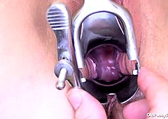 Chunky mommy with saggy tied up boobs gets her pussy stretched with tool