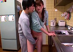 Hottest Japanese whore Akiho Yoshizawa in Horny kitchen, couple JAV scene