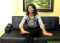 Skinny amateur at casting gets naked and sucks dick