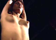Subgirl tied on bondage bed pussy whipped and toyed