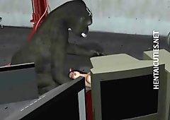 Slutty 3D hentai chick fucks a monster