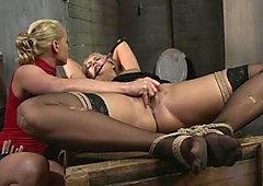 Kathia Nobili caress the clit of hot babe with whip