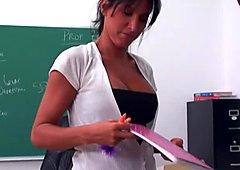 Busty brunette teacher Lezley Zen fuck in classroo