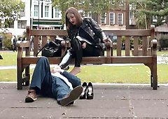 Mistress Evilyne very public foot slave Full length