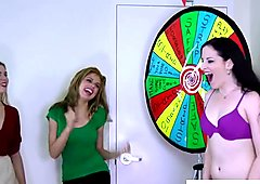 3 very pretty girls play a game of strip spin the wheel
