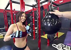 Aubrey Rose fucks with bf in the gym