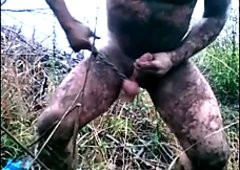 Mud covered ordered wanking