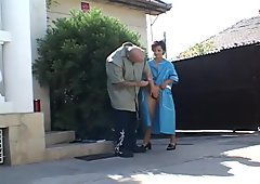 Horny granny opening her hairy pussy for furious nailing outdoors