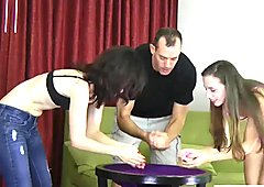 Two beauties and one dude play a game of strip roll the dice
