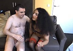 Luckyrose kicks the balls of Andrea Dipre after sex