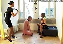 Nasty slave does whatever his horny mistress wants from him