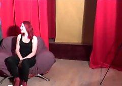 Czech redhead has fun in backstage