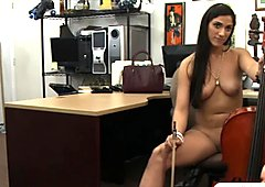 Hot babe sells her Cello and gets fucked in the back office