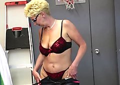 Spex mature jerking hard cock in pov