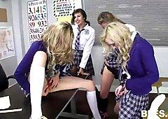 Schoolgirls have sex in the classroom