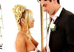 Horny bride Tasha Reign gives deepthroat blowjob at her wedding day