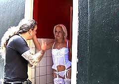 Dutch lingerie hooker doggystyled in window