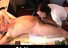 Old boss enjoys licking pussy and anus of young secretary