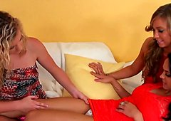Three lesbians pull off wet panties wow